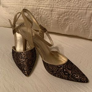 Adrianna Papel gold and black formal evening shoes
